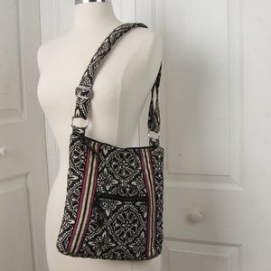 Vera Bradley Black n Red Floral Cross Body Handbag